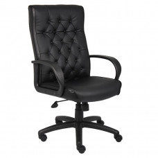 Boss Button Tufted Executive Chair In Black W/ Knee Tilt