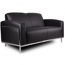 Boss Black CaressoftPlus™ Loveseat W/Chrome Frame